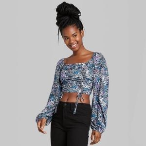 Wild Fable Floral Bishop Long Puff Sleeve Crop Top